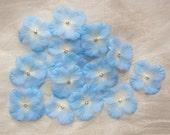 36 pc Rhinestone Beaded Flower Applique Blue Cream Hydrangea Petal Baby Bridal Bow