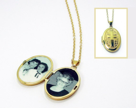 Gold-filled Locket with Cross, Oval Photo Locket and Necklace, Holds 2 Photos - LP11Ngf