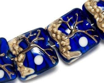 Glass Lampwork Bead Set - Four Tree of Life Pillow Beads 10411714