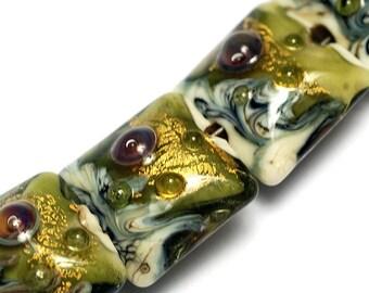 Four Emerald Treasure Pillow Beads - Handmade Lampwork Beads 10505214