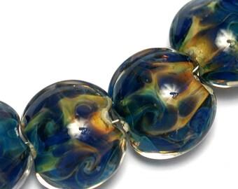 Seven Blue & Orange Lentil Beads -10407502 Handmade Lampwork Glass