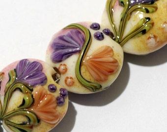 Seven Purple w/Orange Flora Lentil Beads - Lampwork Glass Bead Set 11005802