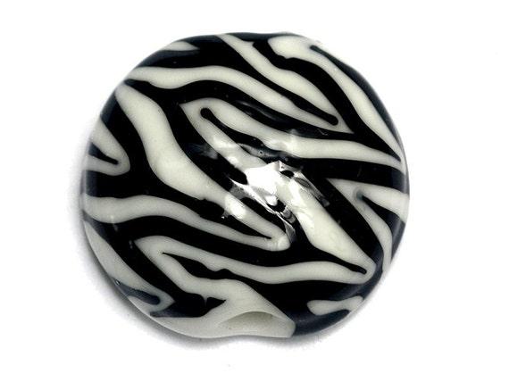 Zebra Stripes Lentil Focal Bead - Handmade Lampwork Bead 11830802