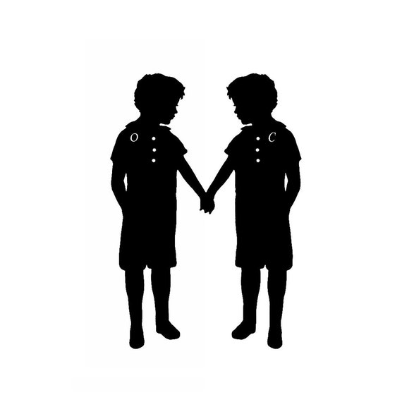Personalized Twin Silhouette Print Brother Sister Custom Black and White Nursery