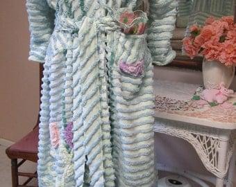 Item #41 Chenille Glamour Girl Bath Robe / Women  Retro Vintage Inspired, Custom Handmade To Order