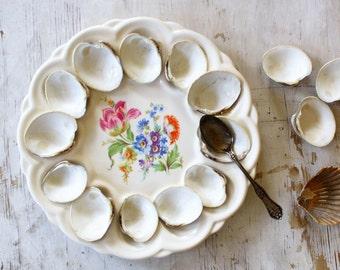 Vintage Ceramic Deviled Egg Plate, Farmhouse Decor