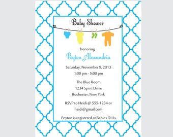 Moroccan baby shower invitation clothesline invitation BOY set of 10