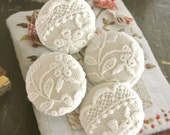 Handmade Large Victorian Retro Cream Off White Floral Lace Wedding Fabric Buttons, Wedding Fridge Magnets, Flat Back Buttons, 1.5 Inches 4's