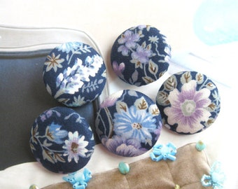 Handmade Country Dark Blue Purple Floral Flower Fabric Covered Buttons, Floral Flower Fridge Magnets, Flat Backs, CHOOSE SIZE 5's