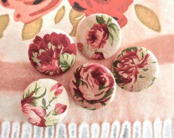 Large Retro Dark Red Pink Rose Floral Flower Fabric Covered Buttons, Retro Dark Red Rose Fridge Magnets, 1.25 Inches 5's
