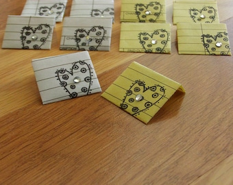 miniature heart stamped envelopes