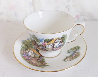 Vintage tea cup and saucer set English tea cup cottage tea cup scene tea cup by Queen Anne tea cup made in England tea cup
