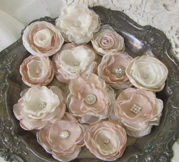DIY Wedding, Fabric Wedding Flowers, Bridal Flowers, Wedding Decor, Champagne, Ivory Flowers, Craft supply, hair flowers, DIY bridal bouquet