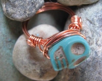 Skull Ring, Copper Ring, Blue Turquoise Howlite and Bright Copper, Blue Wire Wrapped Copper Ring