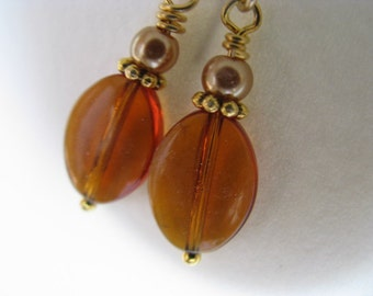 Topaz Brown Amber Glass Earrings, Brown Oval and Golden Pearl Earrings