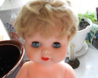 Vintage Hard Plastic Girl Doll Head Arms Legs Move Eyes Open Close