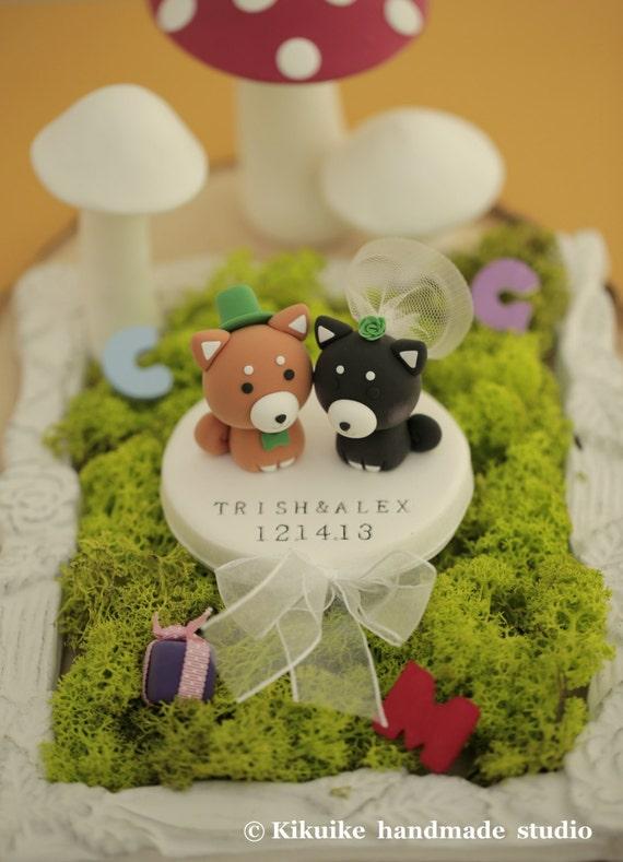Shiba Inu Wedding Cake Topper, dogs cake topper---k830