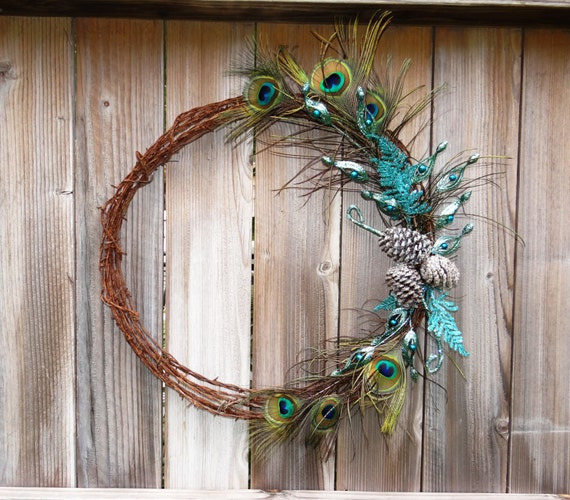 Holiday vintage barbed wire wreath with peacock by didizines