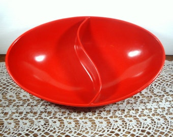Vintage Divided Bowl, Red, Spaulding Ware, Retro Kitchen Dish  (6236)