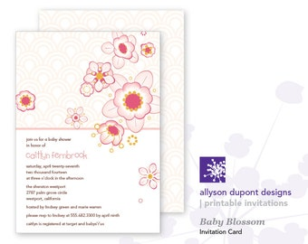 Baby Blossom Printable Baby Shower Invitation - Cherry Blossom Baby Shower Invitation - Baby Girl - Invitation Card