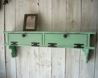Jade Green Furniture Wall Mount Storage Picture Shelf