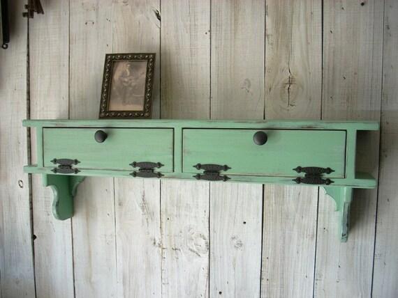 Jade Green Furniture Wall Mount Storage by Nottooshabbyshelves