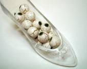 White with Gold Veined Glass Round Beads (Qty 15) - B2033