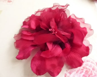 Vintage Burgundy Silky and Organza Milinery Flower