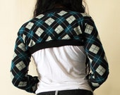 Peacock Blue Argyle Bolero Shrug,  Full Sleeves, available in sizes XS, S, M, L,  -  Kezbirdie