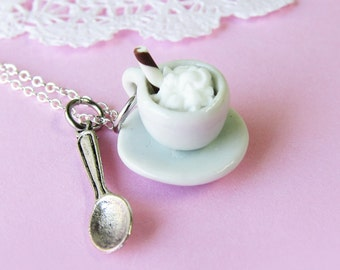 Cappuccino Coffee Necklace - Tea Cup, Saucer, spoon (T4)