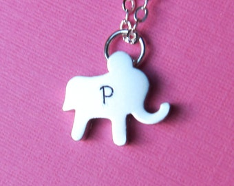 Elephant Initial Necklace - Personalized Hand-stamped initial