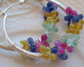 Sapphire and Emerald Hoop Earrings-Multi sapphire earrings-Carnival