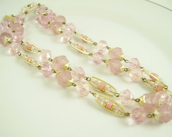 60's Pink Necklace,60's Vintage Signed Germany Necklace, Pink Pastel Faceted Lucite Necklace, Vintage Pink Lucite Necklace, Pink Necklace