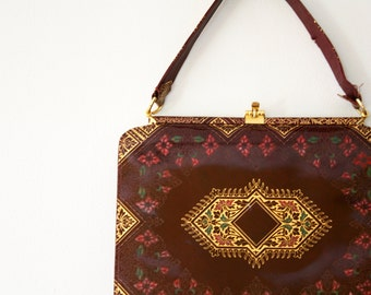 vintage 50s Floral Print and Gold Pattern Cherry Chocolate Red Brown Handbag