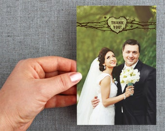 Digital File - Thank You Post Cards - Woodland Heart