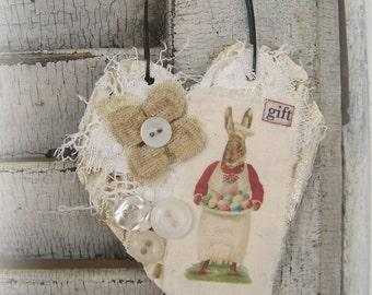 Handmade Easter Ornament Shabby White Spring Ornament Vintage Easter Vintage Cottage Style Heart Wall Hanging Antique Paper Heart