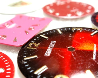 Steam Punk Supplies Vintage Rescued Reclaimed Watch Faces Scrapbooking Assemblage Mixed Media Pink and Red A5