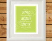 Lime Green Nursery Art - You are Braver Than You Believe - Instant Download - Winnie the Pooh