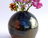 Narrow Neck Blue Stoneware Vase