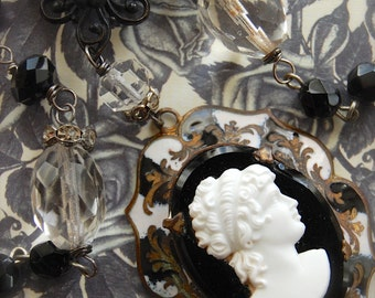A Formal Appearance-Antique Vintage Glass Cameo and Victorian Mourning Pin Assemblage Necklace