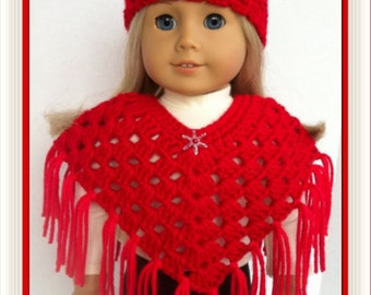 Doll Clothes Made For American Girl,  Crochet Poncho Set, RED with Sparkle Bead, Handmade