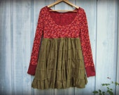 Autumn Colors Babydoll Tunic Top// Large// Eco Bohemian Empire Waist Fall Top// Long Sleeved Top