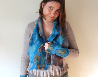 Two Pieces Set of Felted Pair of Silk Fingerless and Scarf  - Ocean Blue
