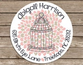 Dahlia Bird Cage-- address or name or party stickers--choose size--choose glossy or matte