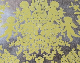 1970's Flocked Vintage Wallpaper Yellow Flock Cherubs Roses and Bows on Foil