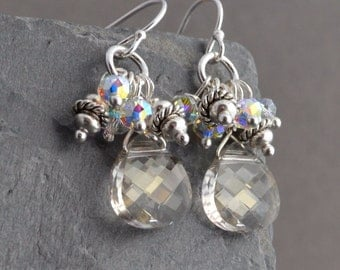 SALE - Handmade sterling silver champagne sparkle dangling earrings