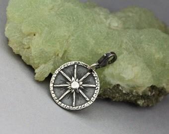 Wheel of the Year - tiny silver charm, solar symbol