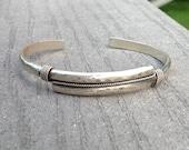 Men's Cuff Sterling Silver Hammered Bracelet, Handmade Men's Jewelry, Men's Sterling Silver Cuff