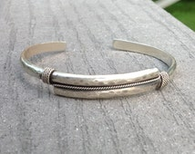 Men's Cuff Sterling Silver Hammered Bracelet, Handmade Men's Jewelry, Men's Sterling Silver Cuff