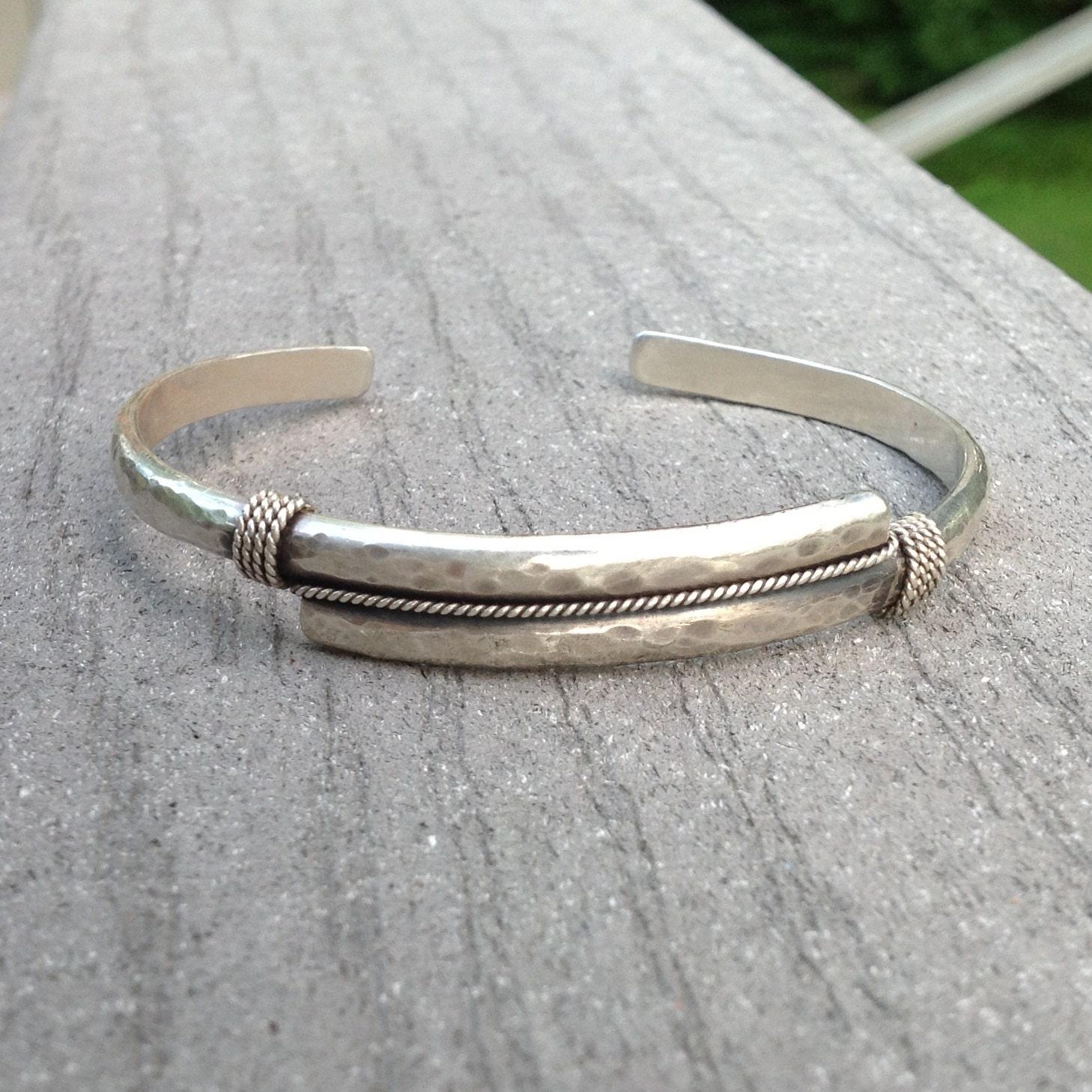 Men's Cuff Sterling Silver Hammered Bracelet by ...